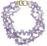 Kenneth Jay Lane Women's Satin Gold Plated Three Rows Mixed Stone Shapes of Amethyst Beads Necklace