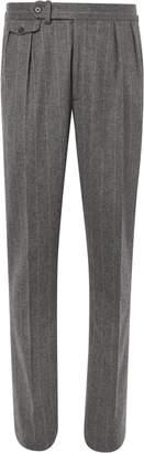 Ralph Lauren Purple Label Grey Gregory Pleated Pinstriped Wool Suit Trousers