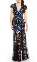 Tadashi Shoji Deep V Neck Printed Gown