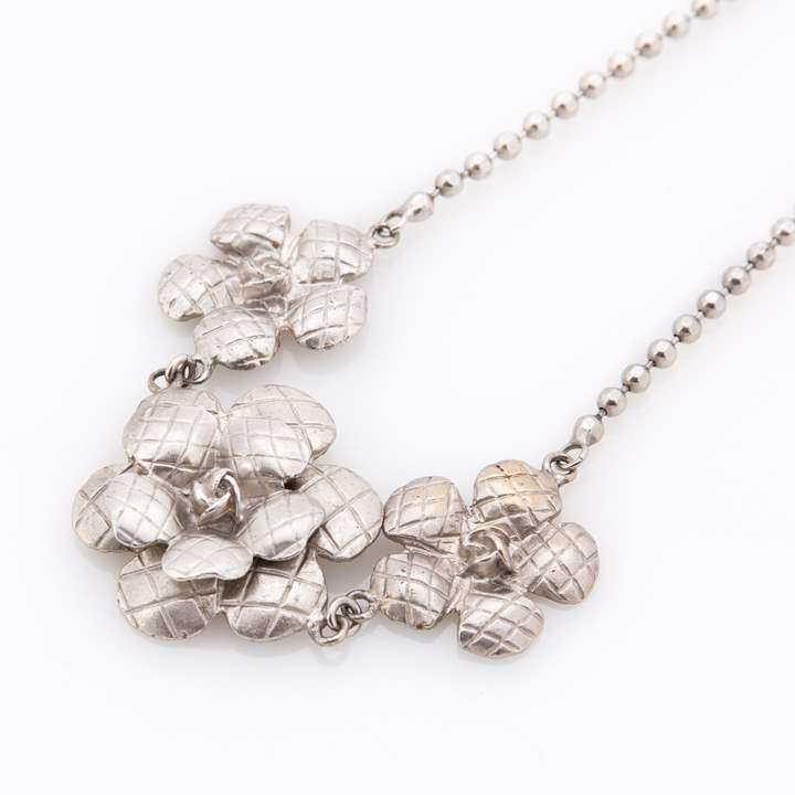 Chanel Silver CC Necklace (Pre Owned)
