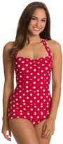Esther Williams Polka Dot Classic Sheath Halter One Piece Swimsuit 8120068