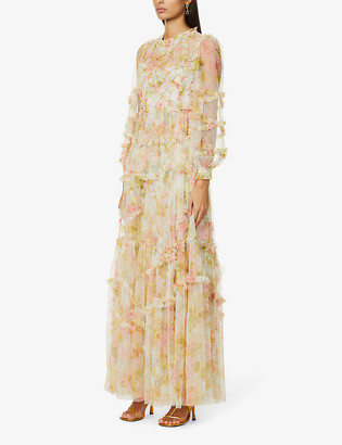 Needle And Thread Harlequin floral-print woven gown
