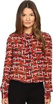 Just Cavalli Women's Sonya Print Bow Blouse w/ Chest Pockets Geranium Blouse