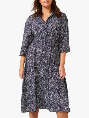 Studio 8 Emersyn Abstract Spot Print Midi Shirt Dress, Navy/Multi
