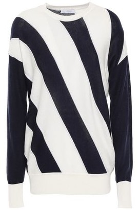 Equipment Cetine Striped Silk And Cotton-blend Sweater