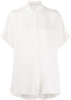 Stella McCartney Textured-Stripe Short-Sleeve Shirt
