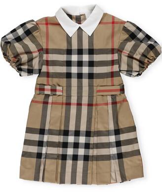 Burberry Children Puff Sleeve Check Print Dress