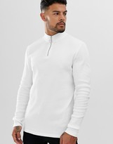 Asos Design DESIGN rib long sleeve t-shirt with turtle zip neck in white