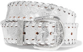 Maison Margiela Embossed Metallic Leather Belt - Silver