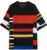 Proenza Schouler Striped Crochet-knit T-shirt - Black