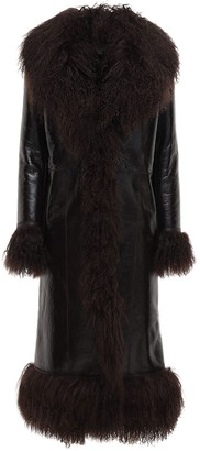 Saks Potts Bonnie Patent Leather & Shearling Coat