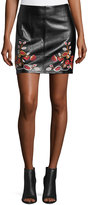 Free Generation Floral-Embroidered Faux-Leather Mini Skirt, Black