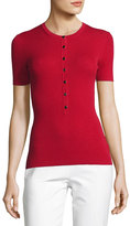 Michael Kors Short-Sleeve Merino Knit Henley Top