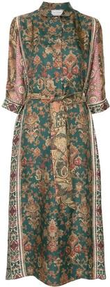 Pierre Louis Mascia Mixed-Print Silk Dress