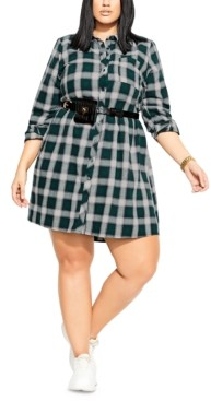 City Chic Trendy Plus Size Checkered Shirtdress