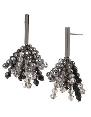 Kenneth Cole Woven Black Diamond Faceted Bead Stick Cluster Drop Earrings One Size