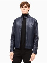 Calvin Klein Faux Leather Perforated Moto Jacket