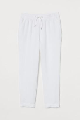 H&M Linen Joggers - White