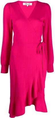 Diane von Furstenberg Cashmere-Wool Blend Fine Knit Wrap Dress