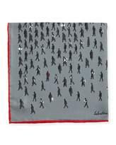 Salvatore Ferragamo Passersby Silk Pocket Square