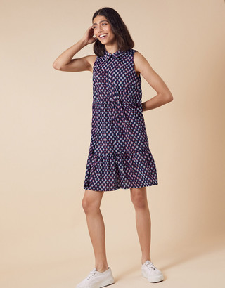 Monsoon Printed Jersey Short Shirt Dress Blue