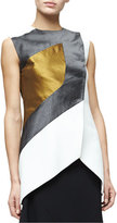 Narciso Rodriguez Sleeveless Textured Colorblock Top, Multi Colors