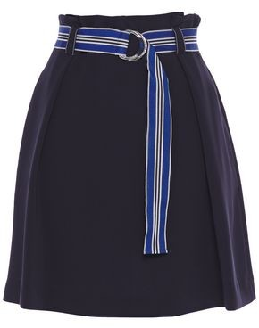 Claudie Pierlot Belted Pleated Crepe Mini Skirt