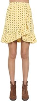 Ganni Printed Crepe Mini Skirt W/ Ruffle Trim