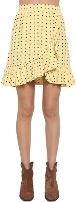 Ganni Printed Crepe Mini Skirt W/ Ruffle Trim