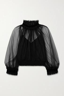 Alice + Olivia Alice Olivia - Alexia Cropped Velvet-trimmed Ruffled Chiffon Blouse - Black
