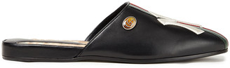 Gucci + New York Yankees Embroidered Striped Leather Slippers