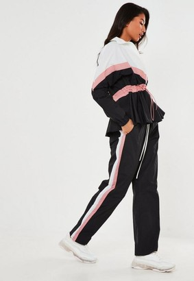 Missguided Black Co Ord Contrast Panel Joggers