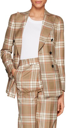 SUISTUDIO Cameron Double Breasted Check Wool Jacket