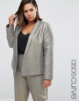 Asos Slim Blazer In Metallic Jacquard