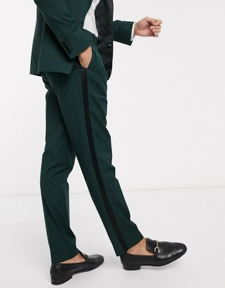Asos DESIGN wedding slim tuxedo suit pants in forest green