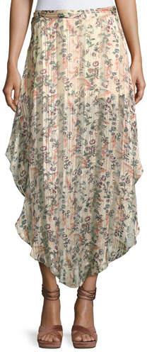 3a80ea443 Pleated Long Metallic Skirt - ShopStyle