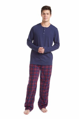 Cherokee Men's Long Sleeve Pajama Shirt and Pants Set