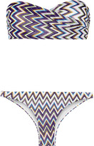 Missoni Mare Metallic Crochet-knit Bandeau Bikini - Purple