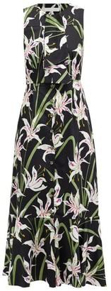 Borgo de Nor Meta Lily-print Tie-neck Cotton-poplin Dress - Black Multi