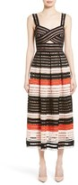 Lela Rose Women's Windowpane Lace Midi Dress