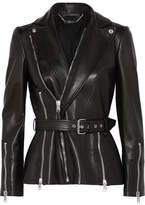 Alexander McQueen Belted Leather Biker Jacket - Black