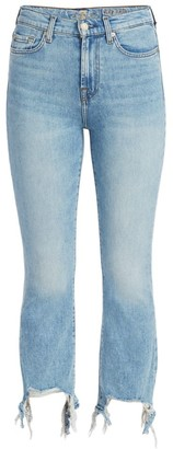 7 For All Mankind High-Rise Slim Kick Flare Cropped Jeans