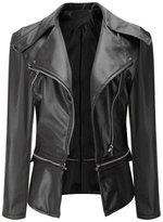 Pooqdo Women Women Biker Motorcycle Leather Zipper Jacket (L)