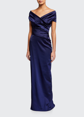 Talbot Runhof Stretch Satin Off-the-Shoulder Gown