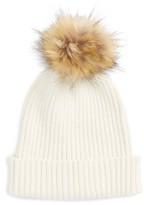 Capelli of New York Women's Faux Fur Pom Knit Beanie - Ivory