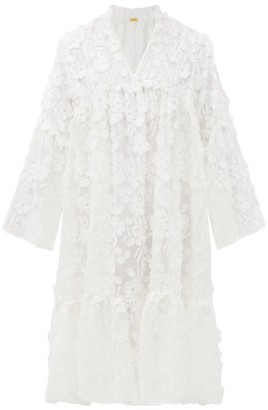 Dodo Bar Or Nell Floral-applique Cotton-voile Dress - White