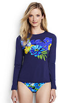 Lands' End Women's Petite Long Sleeve Swim Tee Rash Guard-Deep Sea Placed Italian Floral