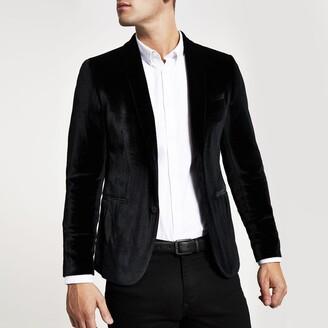 River Island Mens Black super skinny velvet blazer