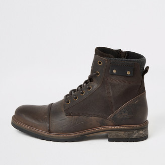 River Island Brown leather lace-up ankle boots