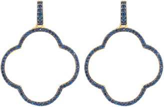 Latelita Open Clover Large Drop Earrings Gold Sapphire Blue Cz